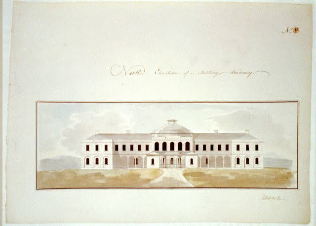 [Military academy. North elevation, rendered]