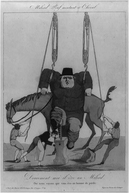 Milord Pouf montant à cheval