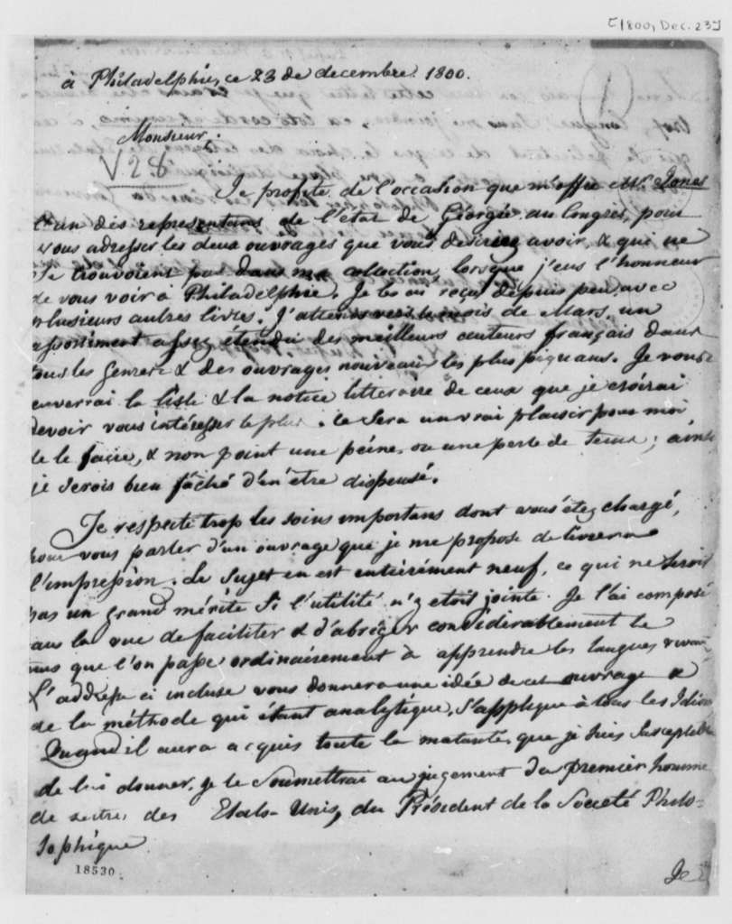 Nicholas Gouin Dufief to Thomas Jefferson, December 23, 1800, in French