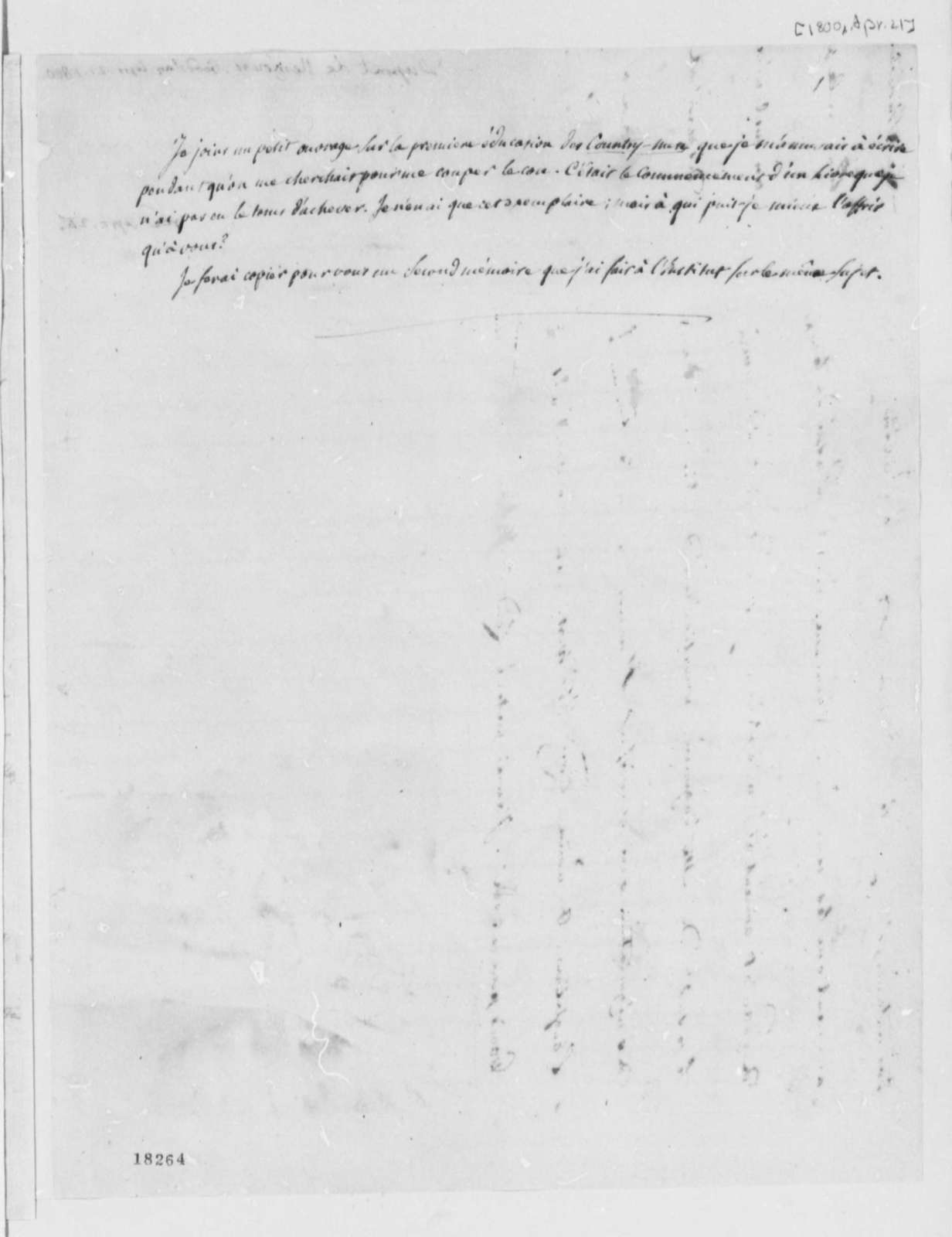 Pierre Samuel Dupont de Nemours to Thomas Jefferson, April 21, 1800, in French