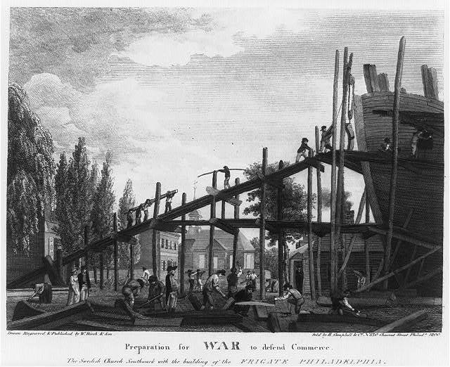 Preparation for War to defend Commerce. The Swedish Church Southwark with the building of the Frigate Philadelphia