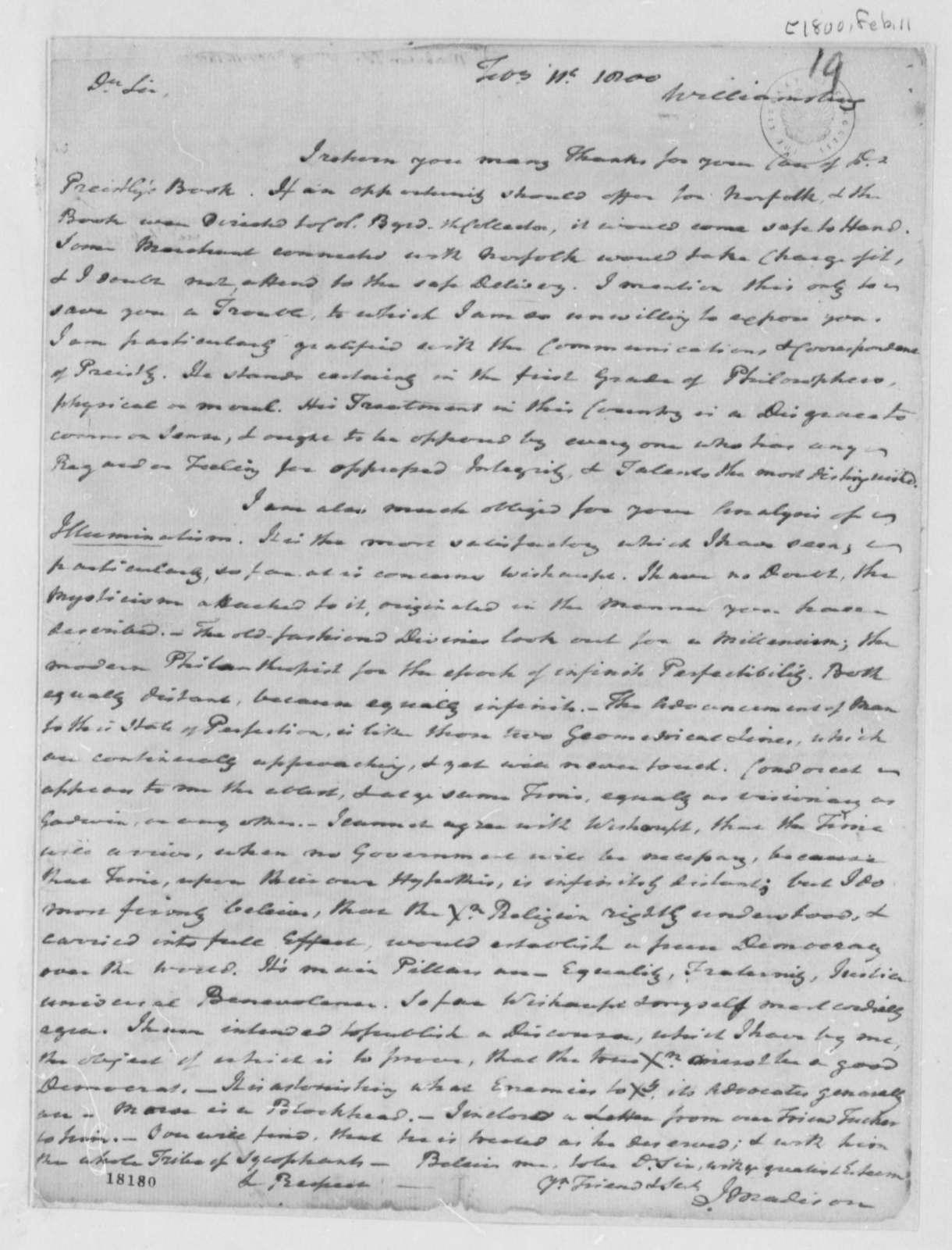 Reverend James Madison to Thomas Jefferson, February 11, 1800