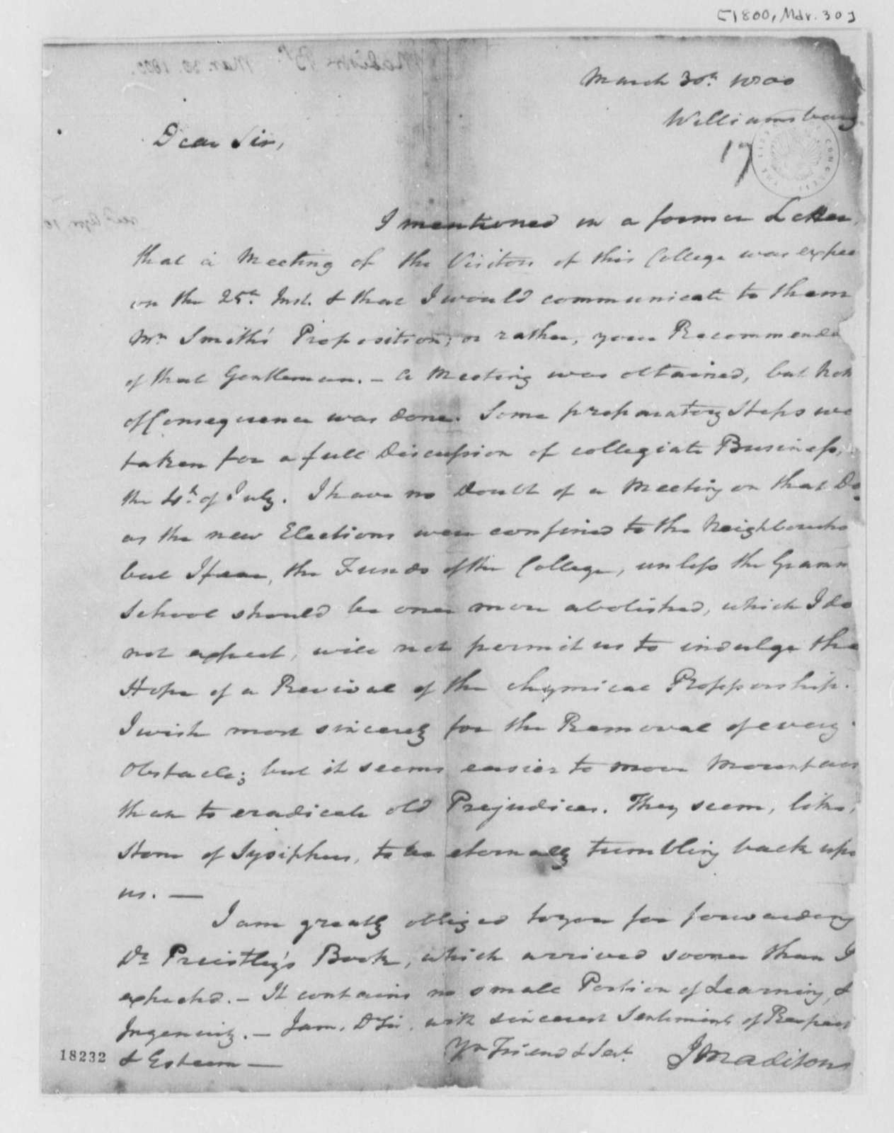 Reverend James Madison to Thomas Jefferson, March 30, 1800