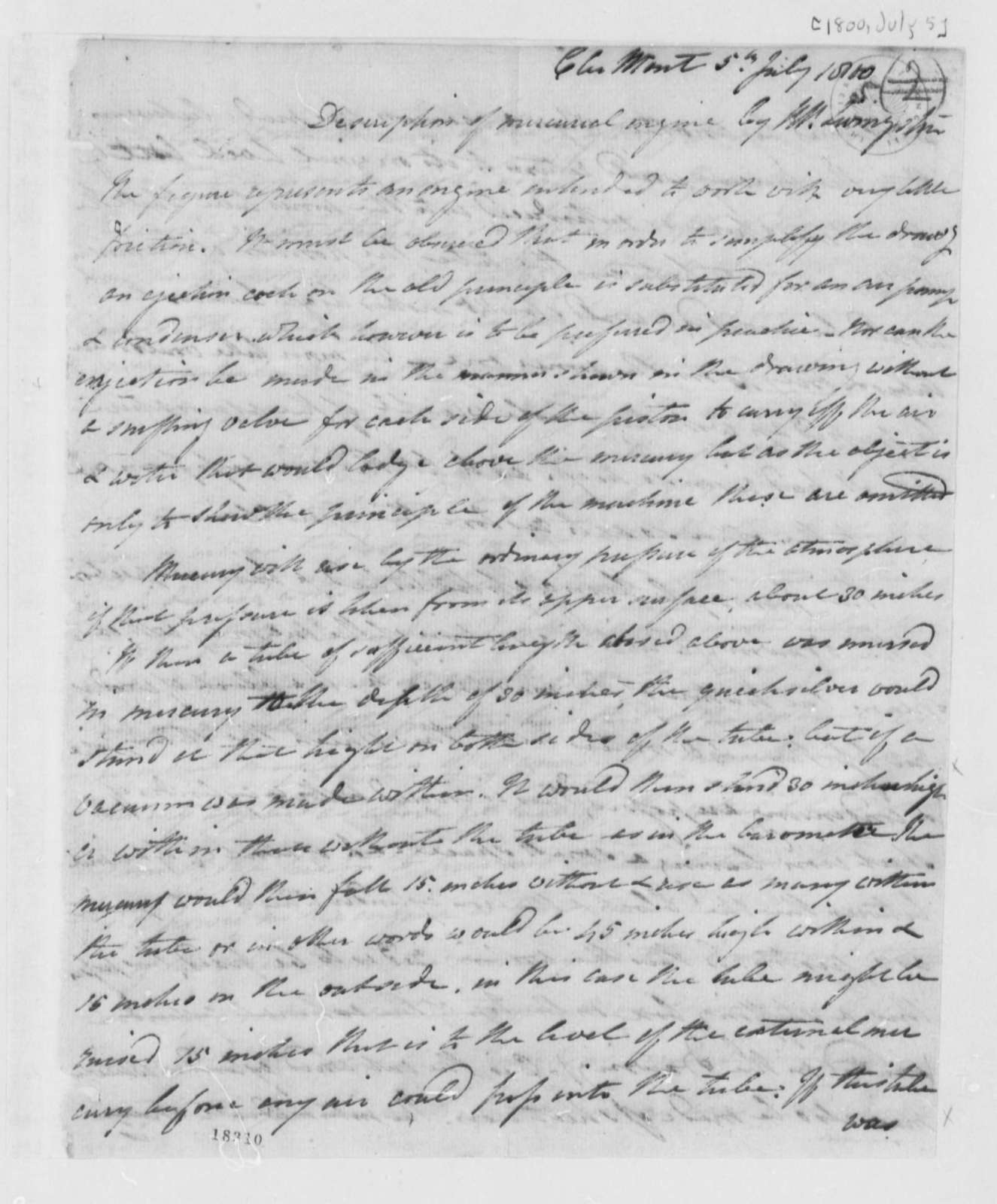 Robert R. Livingston to Thomas Jefferson, July 5, 1800, with Drawing