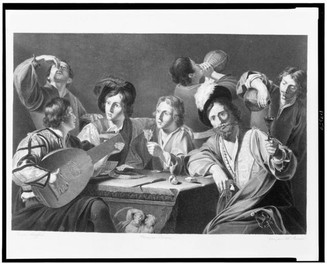 [Seven men around table, eating and drinking, with one of them playing a lute] / peint par Manfredi ; dessiné par Desenne ; gravé par Alb. Reindel.