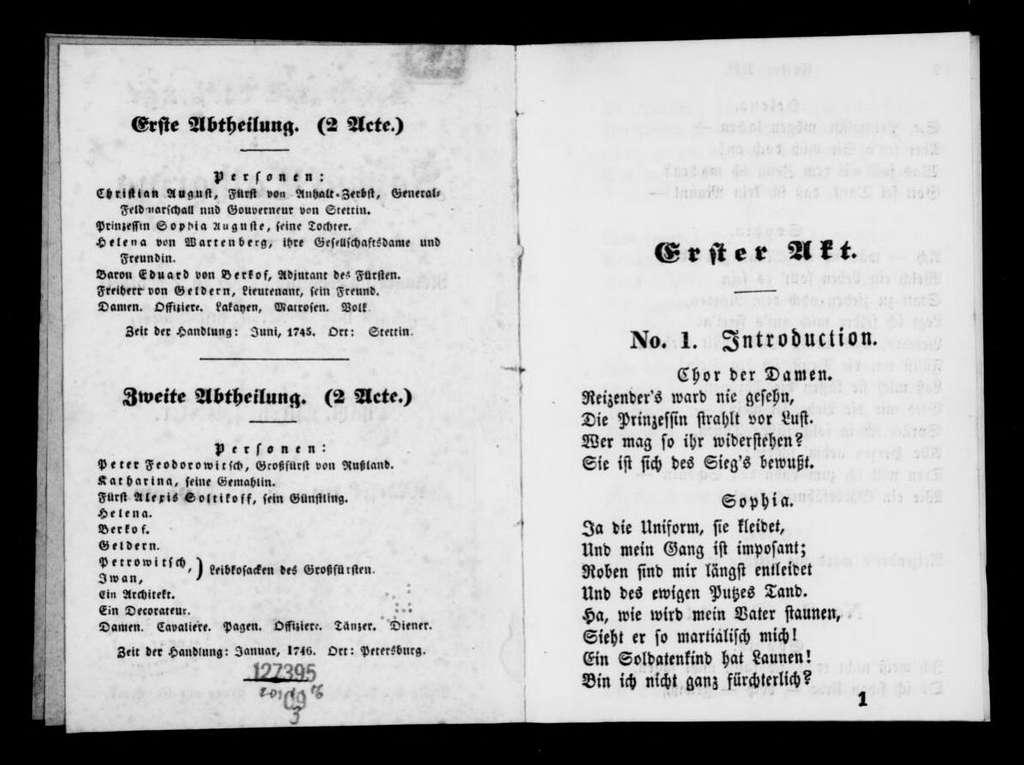 Sophie Katharina. Libretto. German