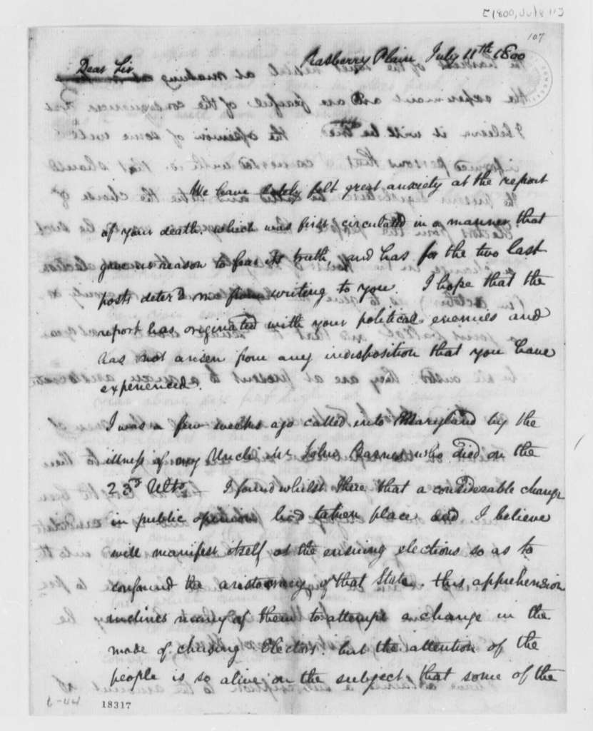 Stevens T. Mason to Thomas Jefferson, July 11, 1800