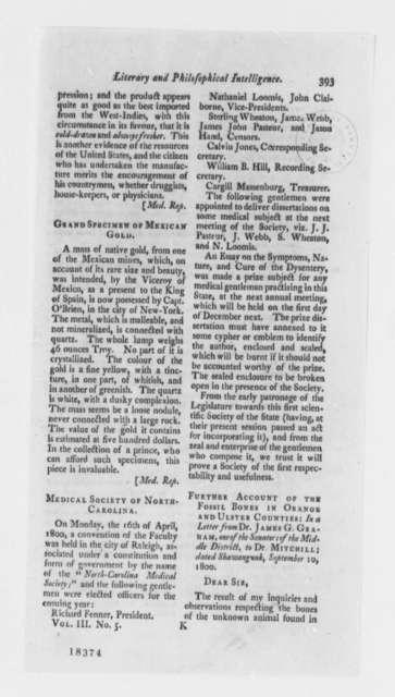 Sylvanus Miller to Samuel L. Mitchill, September 20, 1800, Printed Article