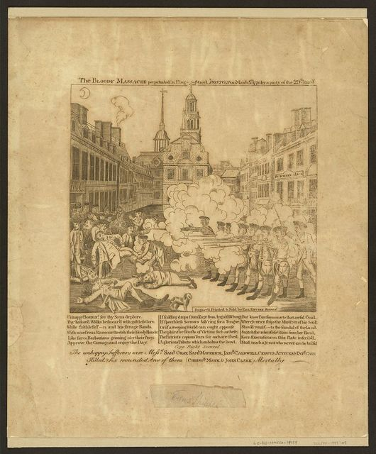 The bloody massacre perpetrated in King Street Boston on March 5th 1770 by a party of the 29th Regt. / engrav'd, printed & sold by Paul Revere, Boston.