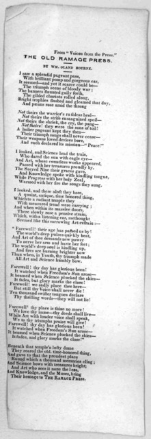The old Ramage press. By Wm. Oland Bourne. [New York? n. d.].