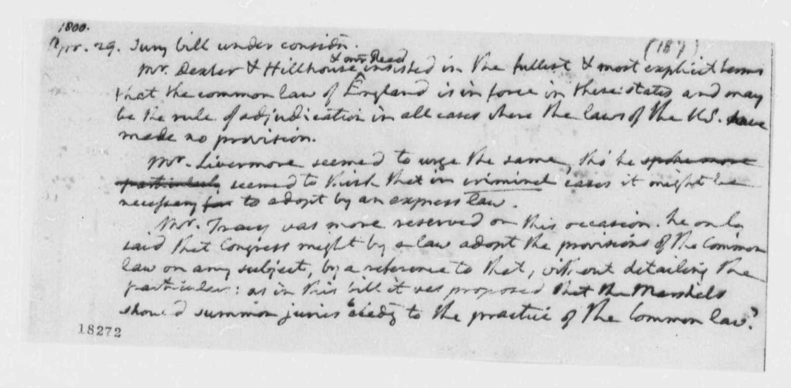 Thomas Jefferson, April 29, 1800, Notes on Common Law