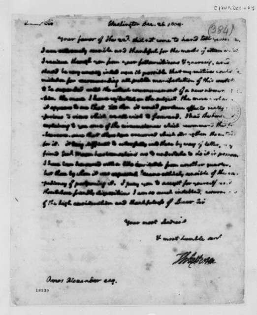 Thomas Jefferson to Amos Alexander, December 26, 1800