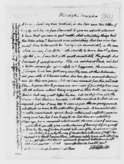 Thomas Jefferson to Antonio Dugnani, May 7, 1800