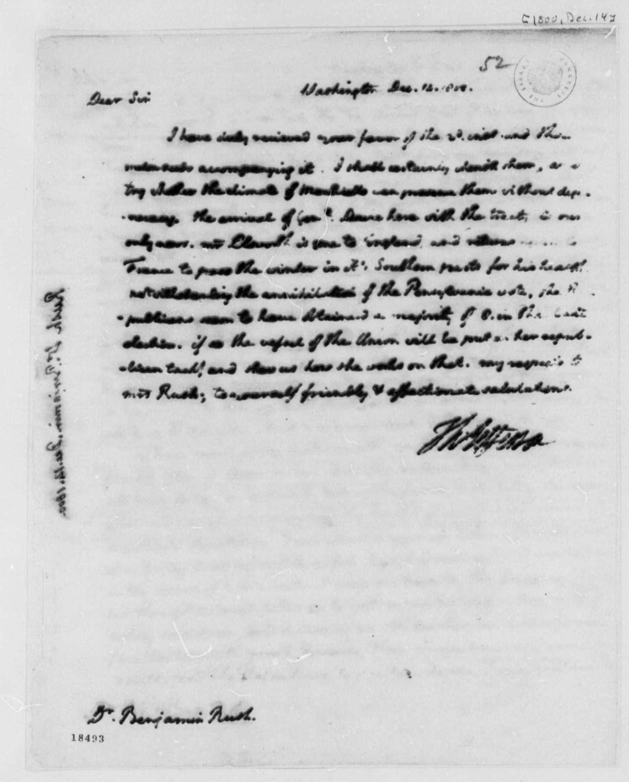 Thomas Jefferson to Benjamin Rush, December 14, 1800