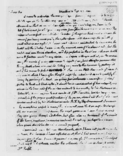 Thomas Jefferson to Benjamin Rush, September 23, 1800, with Copy