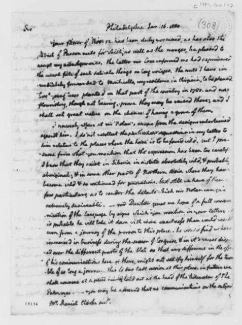 Thomas Jefferson to Daniel Clark, Jr., January 16, 1800