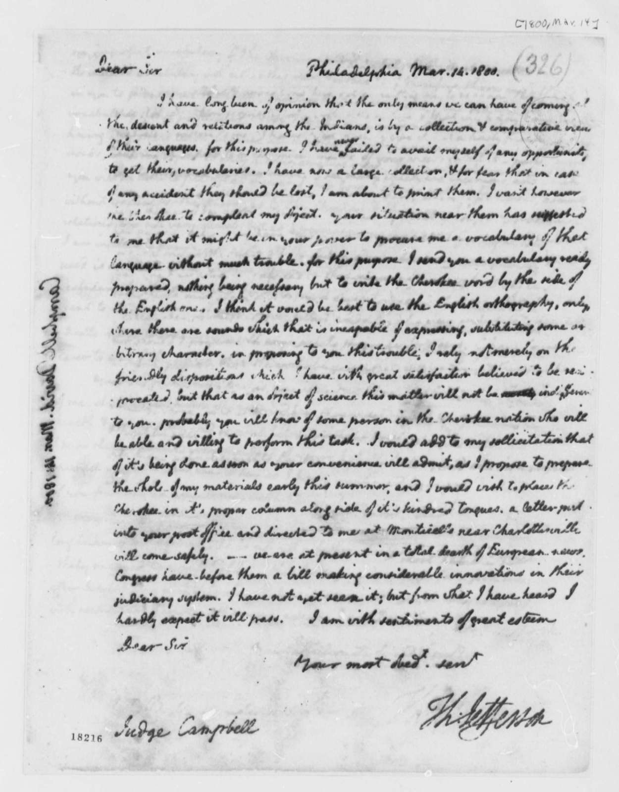 Thomas Jefferson to David Campbell, March 14, 1800
