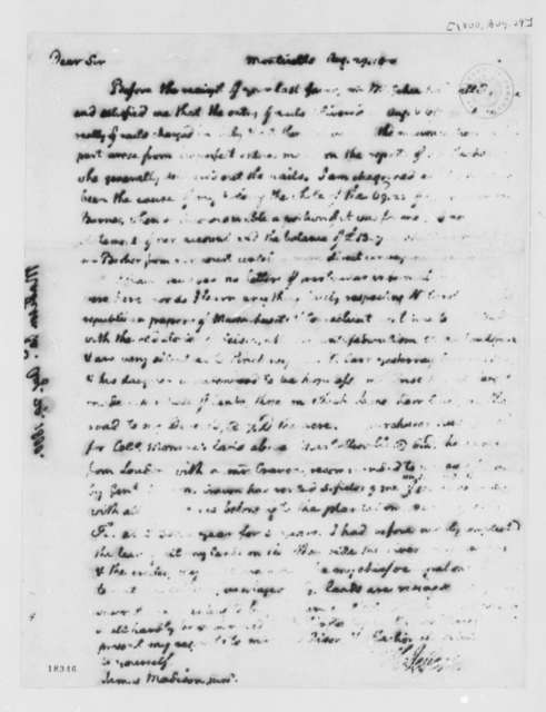 Thomas Jefferson to James Madison, August 29, 1800, Partly Illegible