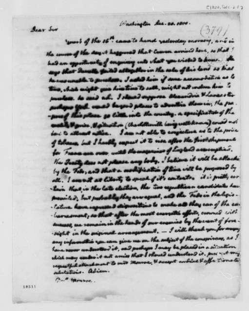 Thomas Jefferson to James Monroe, December 20, 1800