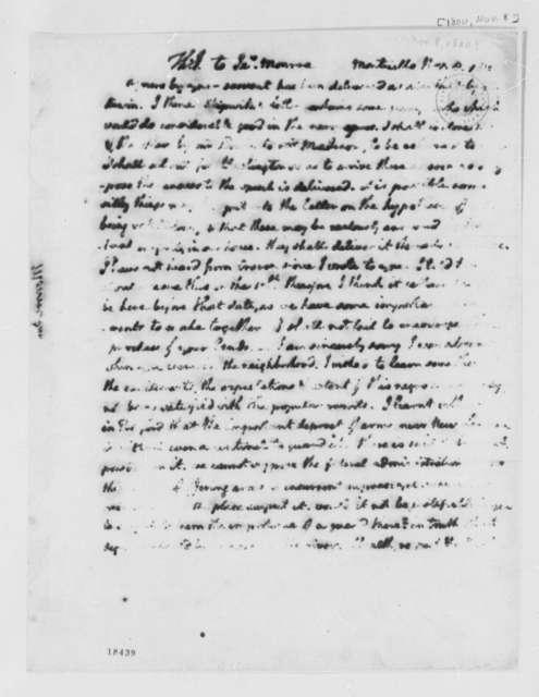 Thomas Jefferson to James Monroe, November 8, 1800, Partly Illegible