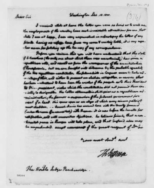 Thomas Jefferson to John Breckinridge, February 18, 1800, with Copy