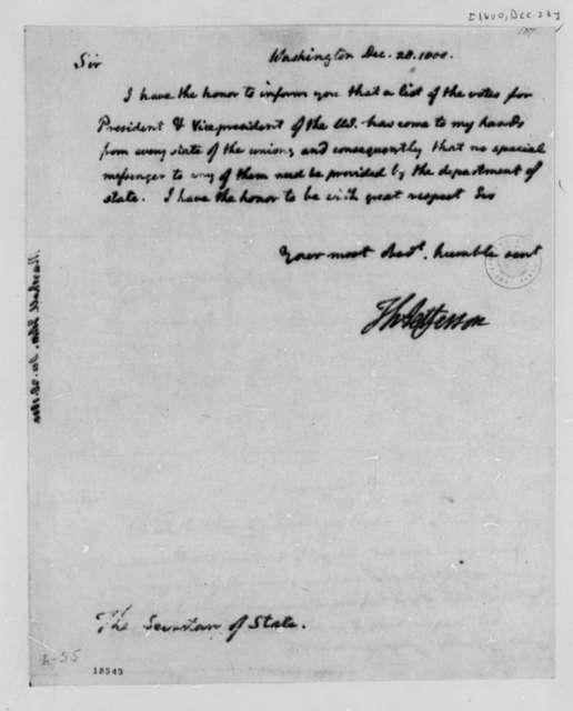 Thomas Jefferson to John Marshall, December 28, 1800