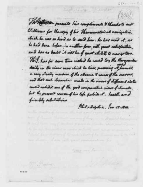 Thomas Jefferson to Jonathan Williams, January 15, 1800