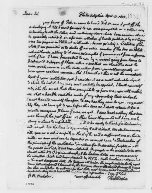 Thomas Jefferson to Philip N. Nicholas, April 7, 1800