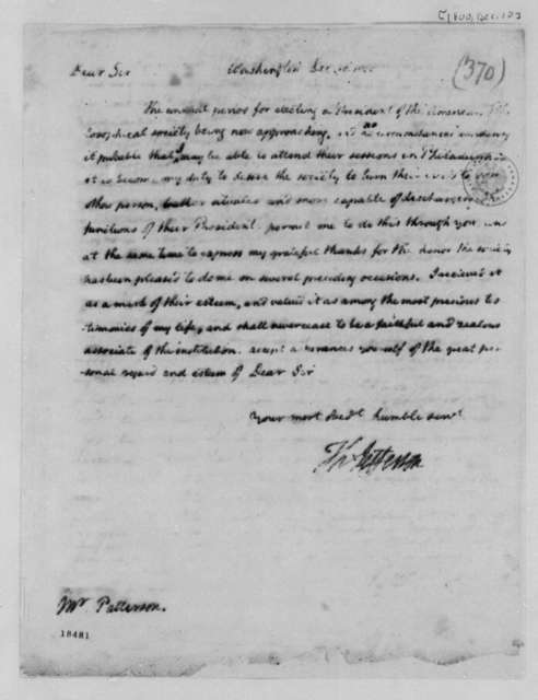 Thomas Jefferson to Robert Patterson, December 10, 1800