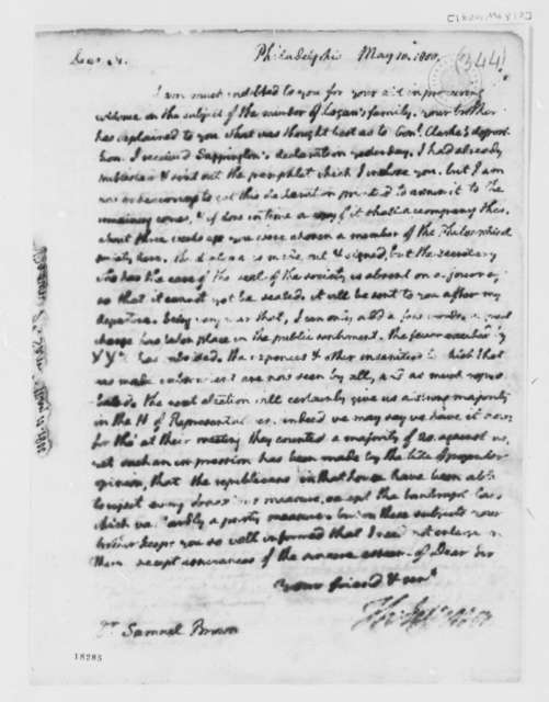 Thomas Jefferson to Samuel Brown, May 10, 1800