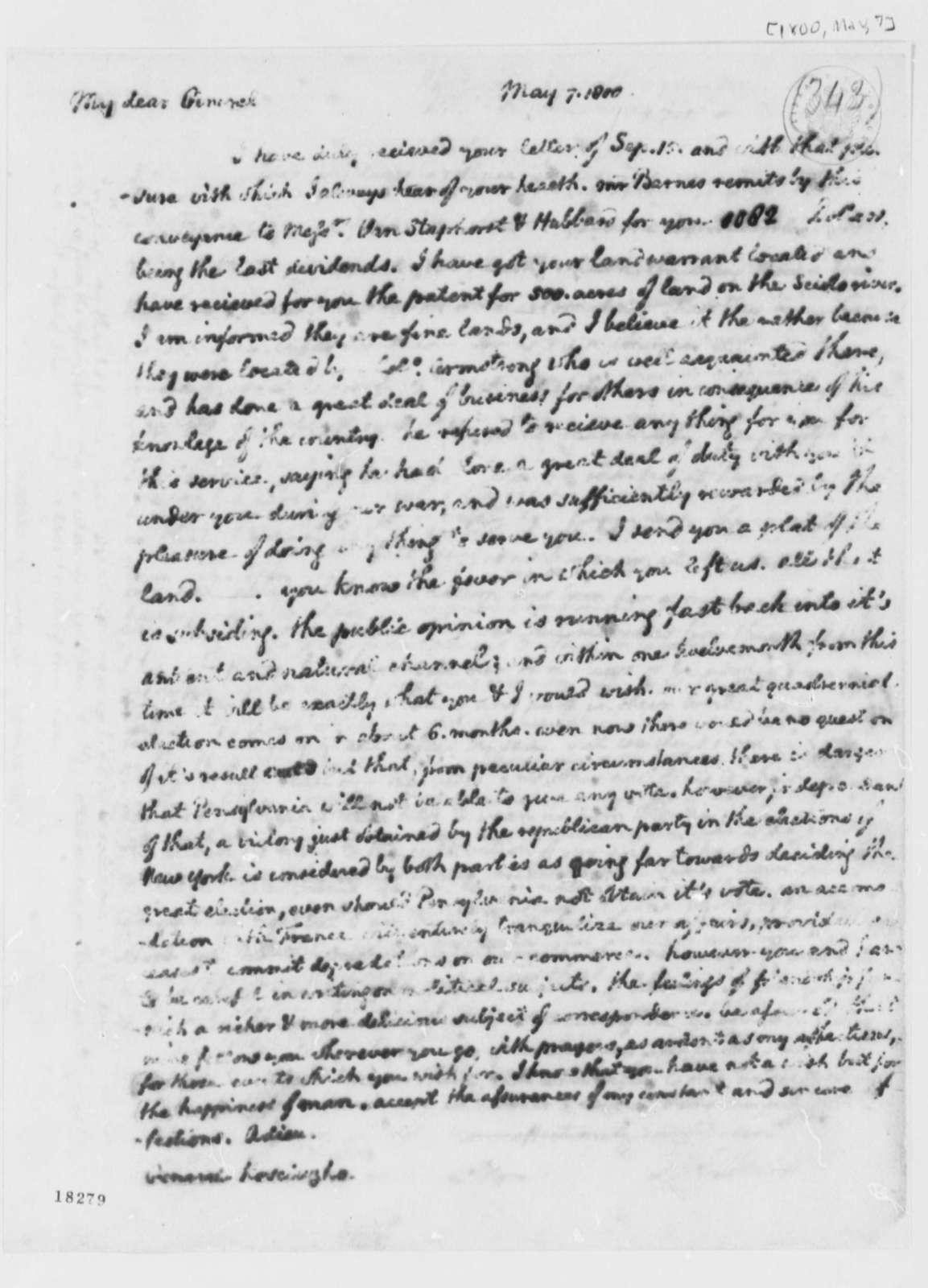 Thomas Jefferson to Thaddeus Kosciuszko, May 7, 1800
