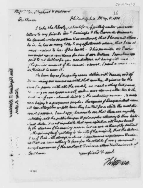 Thomas Jefferson to Van Staphorst & Hubbard, May 8, 1800
