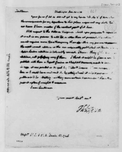 Thomas Jefferson to W. L. and W. A. Davis, December 21, 1800
