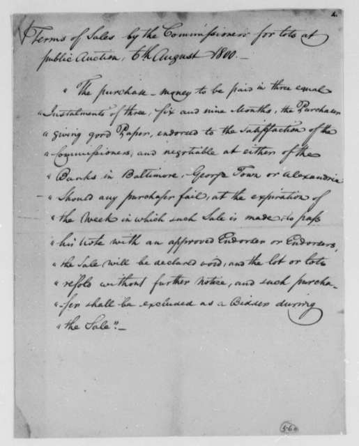 Thomas Munroe, Superintendent of the City, August 6, 1800, Sale of Lots