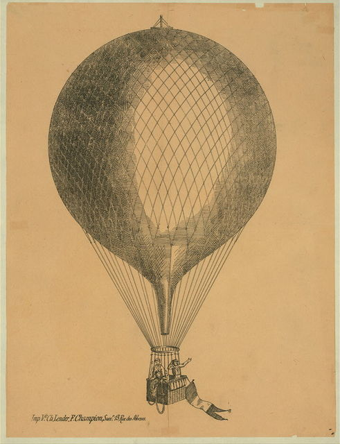 [Three men in basket of ascending balloon with flag attached]