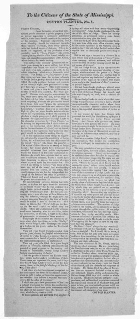 To the citizens of the State of Mississippi Cotton Planter. No. 1. Fellow citizens ... [Signed] Cotton Planter. [18- ].