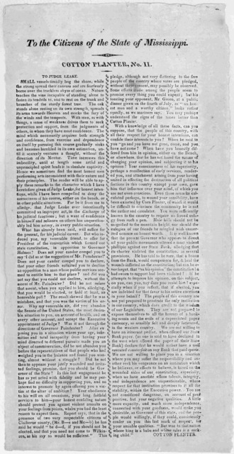 To the citizens of the State of Mississippi. Cotton planter, No. II. To Judge Leake. [Signed] Cotton planter. [18-?].