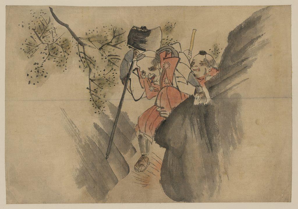 [Two men, one carrying a large axe, walking along a narrow mountain pass]