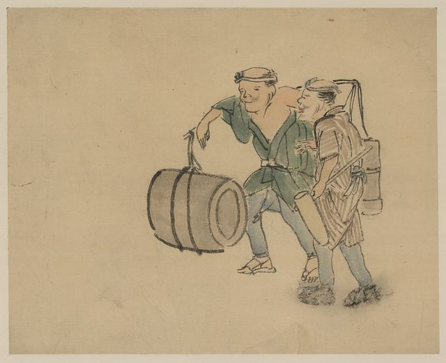 [Two men walking, one carrying a shoulder pole with barrel-like containers, the other carries a long-handled mallet]