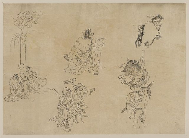 [Vignettes of supernatural beings and mythical events possibly related to Japanese theater]