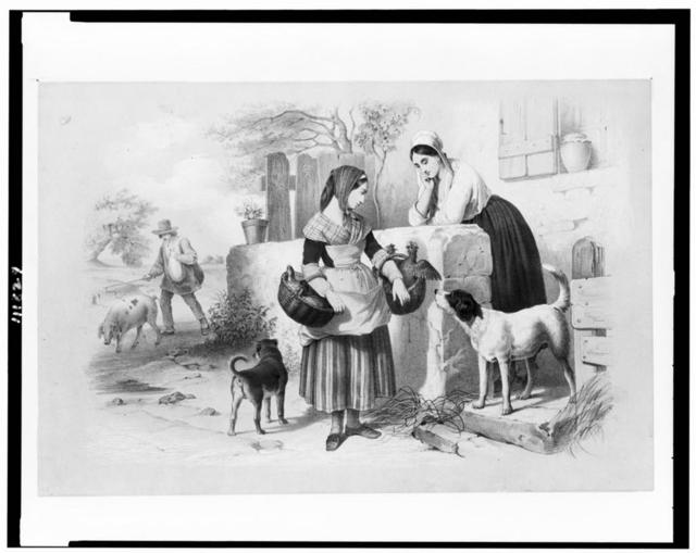 [Woman, with chickens and ducks in baskets, facing another woman at wall of building, two dogs, and man walking with a pig]