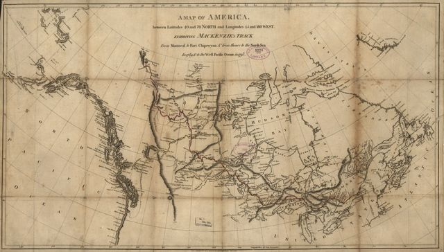A map of America between latitudes 40 and 70 north and longitudes 45 and 180 west exhibiting Mackenzie's track from Montreal to Fort Chipewyan & from thence to the north sea in 1789 & to the west Pacific Ocean in 1793.