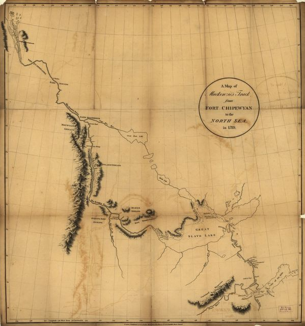 A map of Mackenzie's track from Fort Chipewyan to the north sea in 1789.