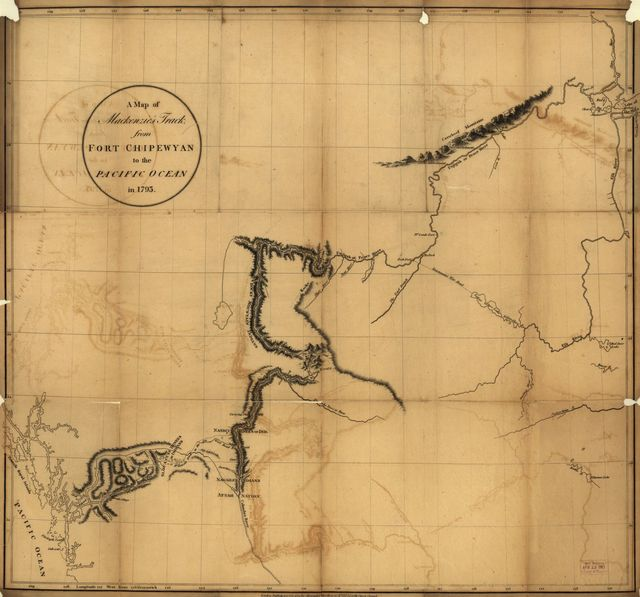 A map of Mackenzie's track from Fort Chipewyan to the Pacific Ocean in 1793.