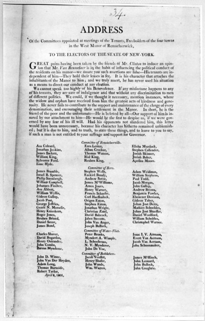 Address of the committees appointed at meetings of the tenants, freeholders of the four towns in the West Manor of Rensselaerwick, to the electors of the State of New York. Great pains having been taken by the friends of Mr. Clinton to induce an