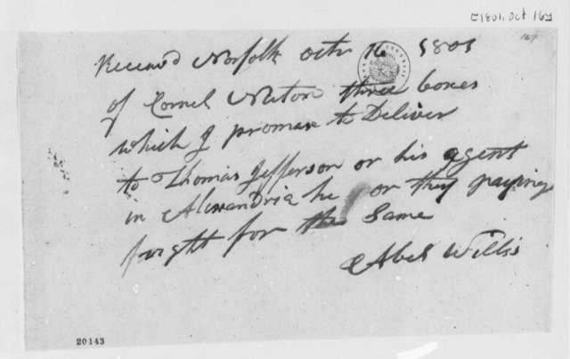 Albert Willis to Thomas Newton, October 16, 1801, Receipt