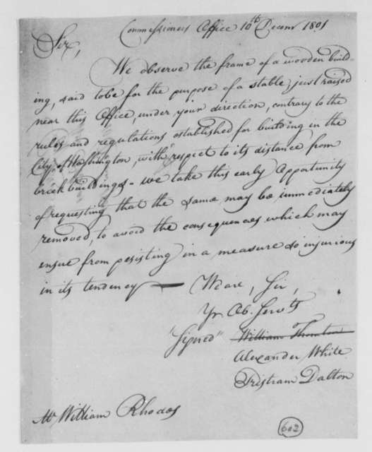 Alexander White and Tristam Dalton, Commissioners to William Rhodes, December 10, 1801
