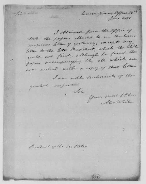 Alexander White, Commissioner to Thomas Jefferson, June 12, 1801