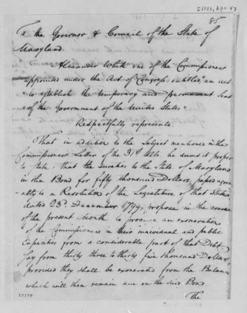Alexander White to Maryland Government and Council, April 4, 1801, Petition