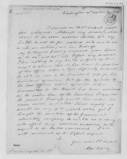 Alexander White to Thomas Jefferson, September 14, 1801